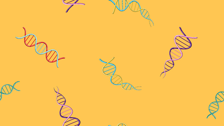 Seamless pattern texture of endless repetitive medical scientific abstract structures of dna gene molecules models on a yellow background. Vector illustration. Illustration