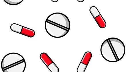 Nahtlose Mustertextur von endlosen sich wiederholenden Medizintabletten Pillen Dragee-Kapseln und Medikamentenplatten mit Vitaminen auf einem weißen Hintergrund flach. Vektor-Illustration.