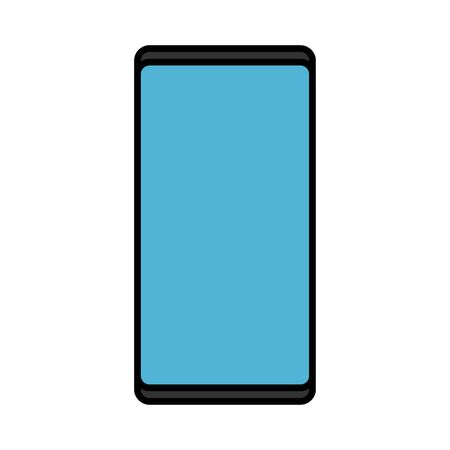 Vector illustration of a modern digital digital smart rectangular smartphone mobile phone icon with isolated on white background. Concept: computer digital technologies.