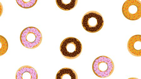 Seamless pattern, texture from different round sweet flour tasty fresh hot donuts, pastries, sugar-coated cookies in chocolate candy caramel candy on a white background. Vector illustration.  イラスト・ベクター素材