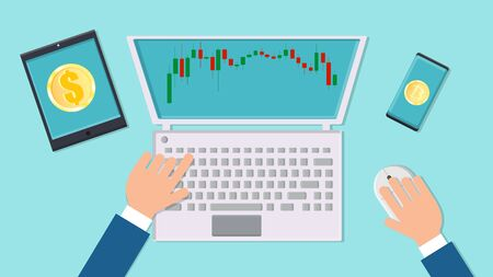 Vector man businessman working on the stock market with bitcoin financial charts on the workplace desk with modern digital computer laptop, tablet and smartphone top view, flat lay.