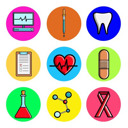 Set of medical round icons, medical equipment items monitor, computer, cardiogram, tooth, pipette, patch, flask, tablet, molecule, tape. Concept: healthcare, hospitals, drugs, medicine.