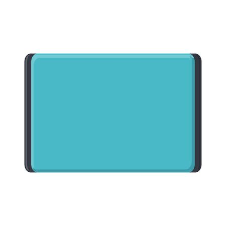 Vector illustration of flat icon of modern digital digital rectangular mobile tablet with isolated on white background. Concept: computer digital technologies.