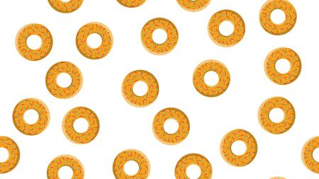 Seamless pattern, texture from round sweet flour tasty donuts to nourishing hot fresh donuts, pastries, sugar-coated cookies in the pastry glaze on a yellow background. Vector illustration.