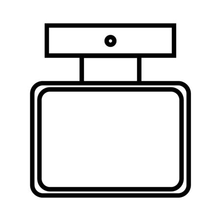 Black and white icon is a simple linear fashionable glamorous cosmetics, glass bottle with perfume, adicolon, toilet water with a pleasant smell and beauty guidance. Vector illustration.