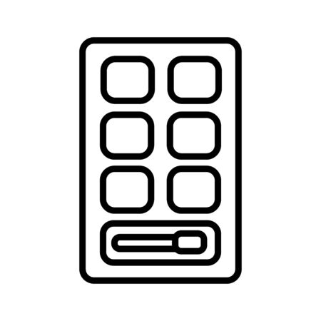 lack and white icon is a simple linear glamorous cosmetics rectangular powder box with a mirror, eye shadows and eyelids applying make-up beauty guidance. Vector illustration.