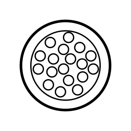Black and white icon is a simple linear glamorous little round powder box with eyeshadow and eyelid balls for applying make-up to restore the beauty of facial skin care. Vector illustration.