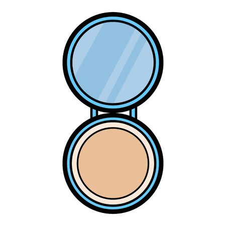 Flat icon blue  is a simple beauty of glamorous little portable powder box, powder boxes with a mirror for applying make-up of beauty of the ear to the face skin. Vector illustration.