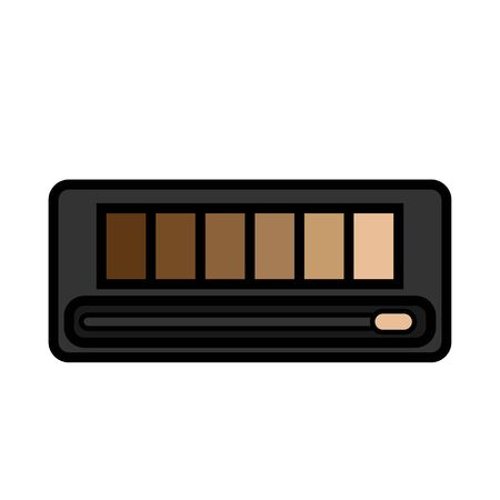 Flat icon is a simple glamorous cosmetics rectangular powder box with a mirror, eye shadows and eyelids applying make-up beauty guidance. Vector illustration.
