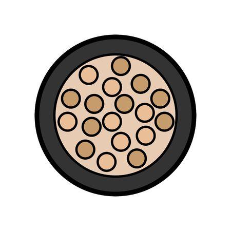 L'icône plate est une simple petite boîte à poudre ronde glamour avec des boules de fard à paupières et de paupières pour appliquer le maquillage afin de restaurer la beauté des soins de la peau du visage. Illustration vectorielle. Vecteurs
