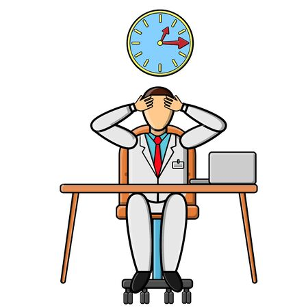 Male doctor medical worker in a white coat on an armchair at a table in the office is experiencing stress and emotional burnout at work. Concept: modern slavery. Vector illustration