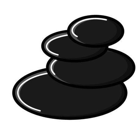 Beautiful simple flat icon of black hot stones for massage and spa beauty guidance isolated on white background. Vector illustration.