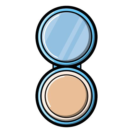 Small glass round opening makeup mirror with powdery fashionable glamorous beautiful isolated on a white background. Vector illustration. Stock Illustratie
