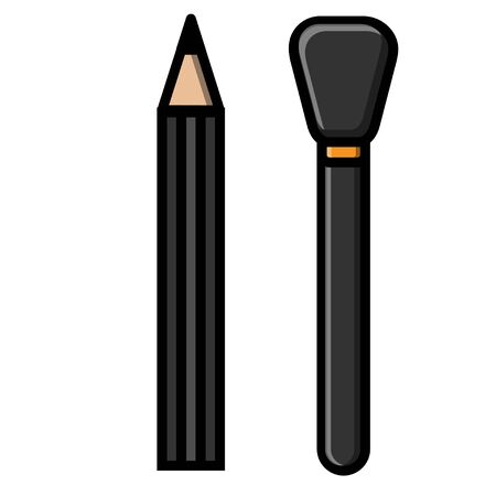 Beautiful flat icons of fashionable glamorous brushes for beauty and makeup and a pencil for tinting eyelashes and eyelashes isolated on a white background. Vector illustration.