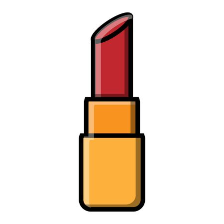 Small beautiful red lipstick for makeup and beauty guidance on the lips isolated on a white background. Vector illustration.  イラスト・ベクター素材