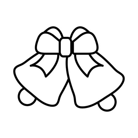 Black and white small simple linear icon of a beautiful festive New Years Christmas bells decoration with a bow and a ribbon on a white background. Vector illustration.