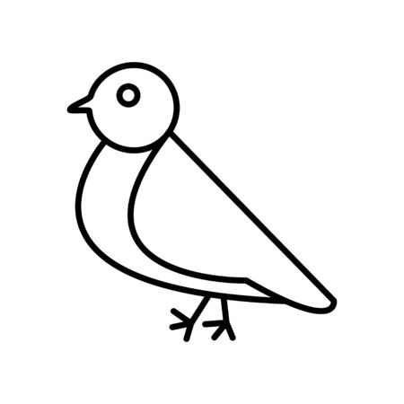 Black and white small simple linear icon of a beautiful festive New Year Christmas bullfinch, small bird on a white background. Vector illustration.