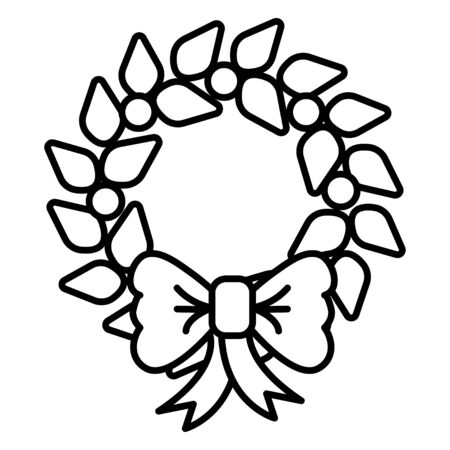Black and white small simple linear icon of a beautiful festive New Year Christmas decoration for home, Christmas wreath isolated on a white background. Vector illustration. Ilustração