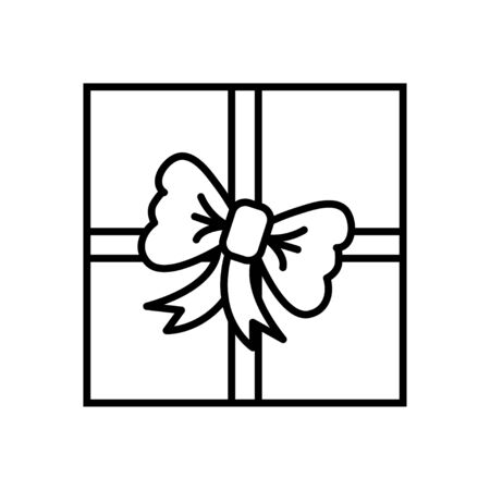 Black and white small simple linear icon of a beautiful holiday New Years Christmas gift in a beautiful box with ribbons and a bow isolated on a white background. Vector illustration.