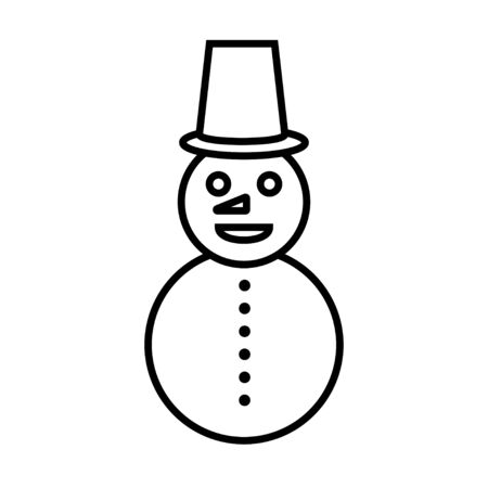 Black and white small simple linear icon of a beautiful festive New Year Christmas snowman with a bucket on his head on a white background. Vector illustration.