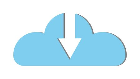 Blue beautiful simple digital cloud icon with download arrow. Concept: cloud technologies and services, remote storage of information. Vector illustration.