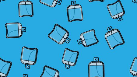 Endless seamless pattern of beautiful beauty cosmetic items of perfume and cologne bottles with a tasty pleasant smell on a blue background. Vector illustration.