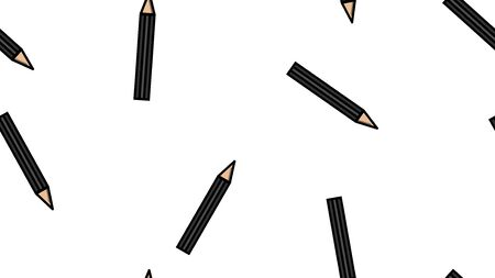 Endless seamless pattern of beautiful black beauty cosmetic items eyebrow pencil and eye makeup on white background. Vector illustration.