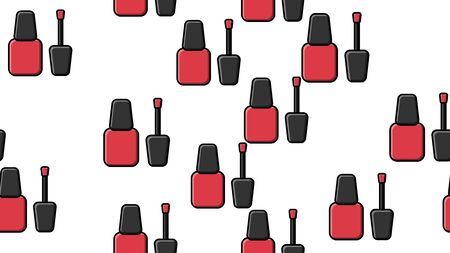 Endless seamless pattern of beautiful red beauty cosmetic items of nail polish bottles for manicure on a white background. Vector illustration.
