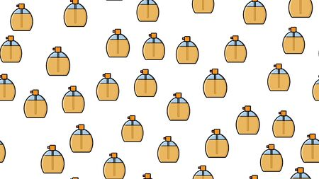 Endless seamless pattern of beautiful beauty cosmetic items of perfume and cologne bottles with a tasty pleasant smell on a white background. Vector illustration.