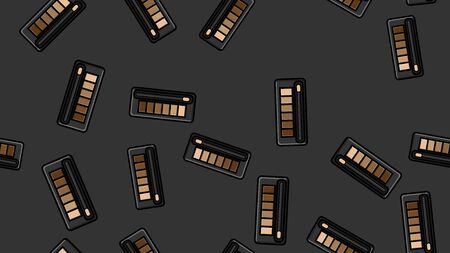 Endless seamless pattern of beautiful beauty cosmetic items of female fashionable powder boxes with shadows for applying makeup on a black background. Vector illustration.
