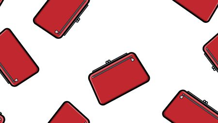 Endless seamless pattern of beautiful beauty items of female glamorous fashion accessories handbags and clutches on a white background. Vector illustration.