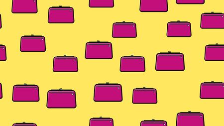 Endless seamless pattern of beautiful beauty items of female glamorous fashion accessories handbags and clutches on a yellow background. Vector illustration. Ilustrace