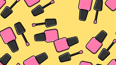 Endless seamless pattern of beautiful pink beauty cosmetic items for nail polish bottles for manicure on a yellow background. Vector illustration.