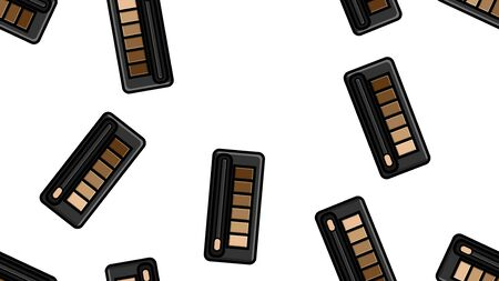 Endless seamless pattern of beautiful beauty cosmetic items of female fashionable powder boxes with shadows for applying makeup on a white background. Vector illustration.
