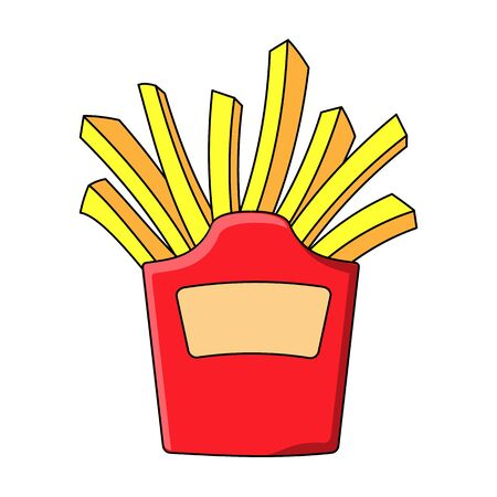 Simple icon in flat style. Fast food. Deep fried french fries from a restaurant cut into slices in a cardboard cup. Street food. Vector illustration.