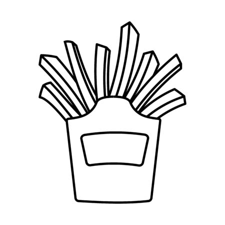 Simple linear icon black and white. Fast food. Deep fried french fries from a restaurant cut into slices in a cardboard cup. Street food. Vector illustration.