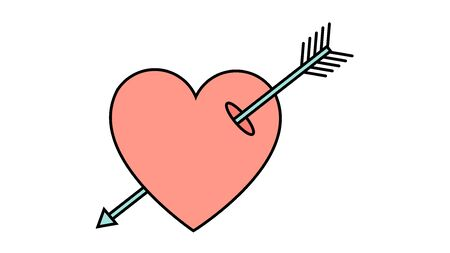 Simple flat style icon of a beautiful heart pierced by an arrow of a cupid for the feast of love on Valentines Day or March 8th. Vector illustration.