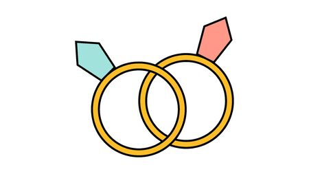 Simple flat style icon of beautiful two diamond rings for a wedding or engagement party for the feast of love Valentine's Day or March 8th. Vector illustration. Archivio Fotografico - 139037527