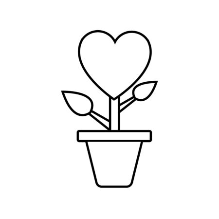 Black and white linear simple icon of a flower in a pot with a heart for the feast of love on Valentines Day or March 8. Vector illustration.