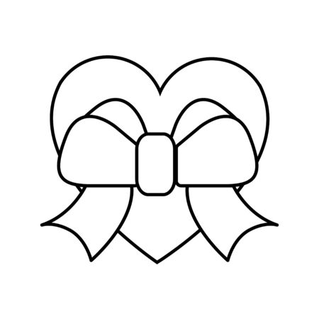 Black and white linear simple heart icon with a bow for the holiday of love Valentines Day or March 8. Vector illustration.