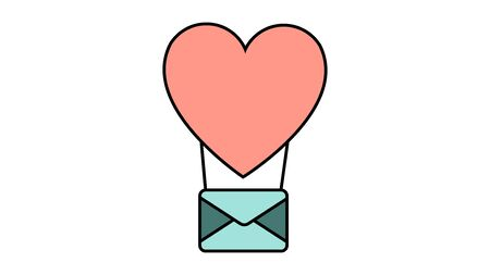 Colored simple icon in flat style of a beautiful balloon heart with an envelope for the holiday of love on Valentine's Day or March 8. Vector illustration.