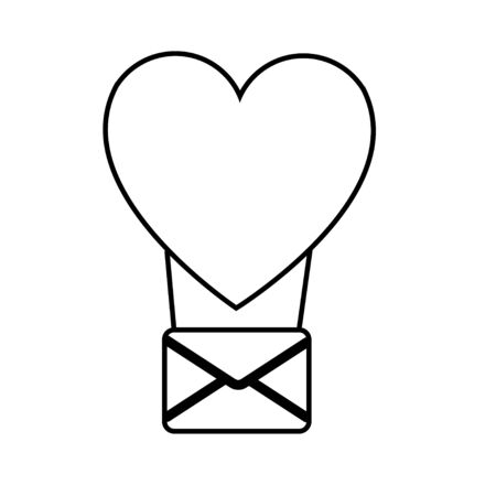 Black and white linear simple icon of a beautiful balloon heart with an envelope for the holiday of love Valentines Day or March 8. Vector illustration.