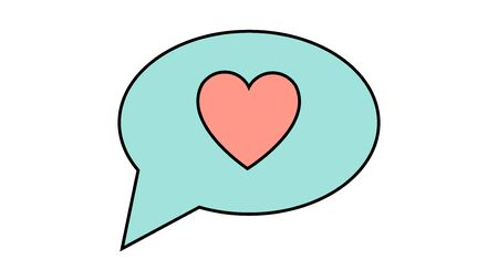 A simple flat-style icon of a beautiful heart in the dialog cloud of thoughts for the feast of love Valentines Day or March 8. Vector illustration. Ilustração