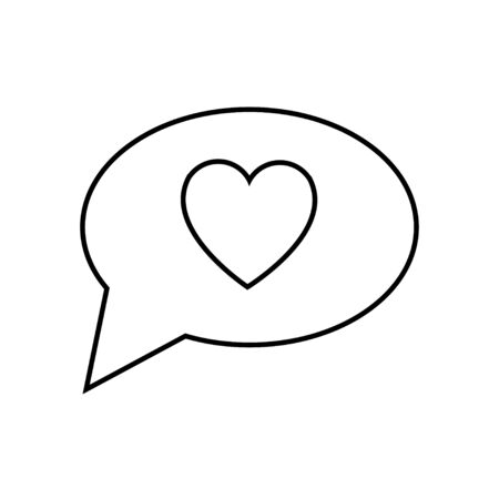 Black and white linear simple icon of a beautiful heart in the dialog cloud of thoughts for the feast of love Valentines Day or March 8. Vector illustration. Ilustração