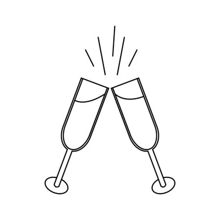 Black and white linear simple icon beautiful of two glasses of champagne that clink glasses during a toast for the feast of love on Valentines Day or March 8th. Vector illustration. Ilustração