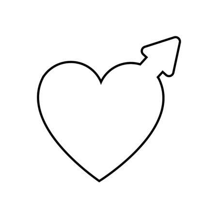 Black and white linear simple icon of a beautiful symbol of an astronomical woman and Venus in the heart for the feast of love on Valentine's Day or March 8. Vector illustration. Ilustração