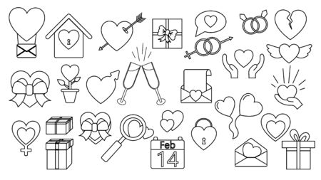 A set of large black and white linear simple icons of beautiful hearts, gifts, envelopes, love items for the feast of love Valentines Day February 14 or March 8. Vector illustration.
