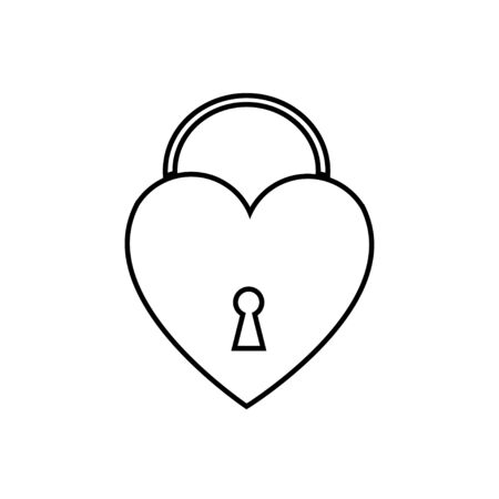 Black and white linear simple icon of a beautiful padlock in the form of a heart with a keyhole for the feast of love on Valentines Day or March 8th. Vector illustration. Ilustração