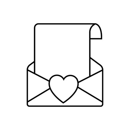 Black and white linear simple icon beautiful letters in an envelope with a heart for the holiday of love on Valentines Day or March 8. Vector illustration.