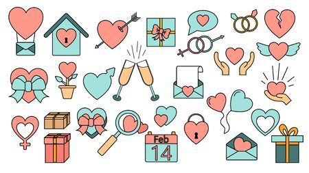 A set of large simple flat-style icons of beautiful hearts, gifts, envelopes, love items for the feast of love Valentines Day February 14 or March 8. Vector illustration. Ilustração